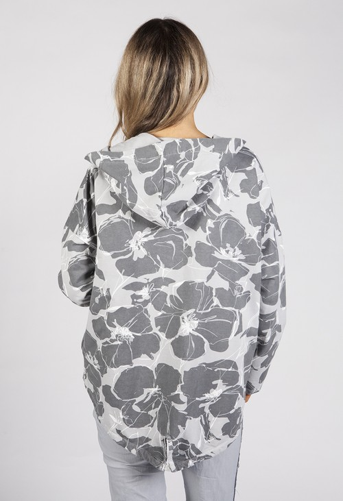 Zapara Grey Toned Tropical Print Jacket