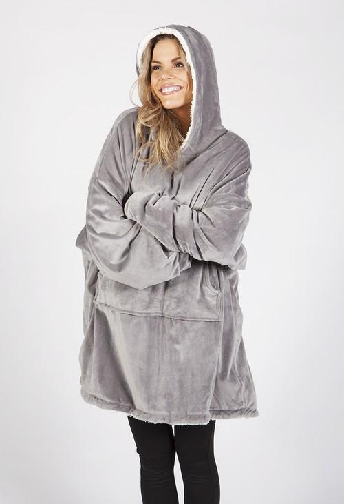 Pamela Scott Grey Fleece Snuggle Hoodie