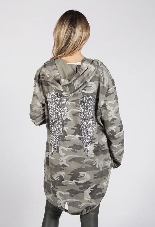 Zapara Khaki Angel Wing Light Coat