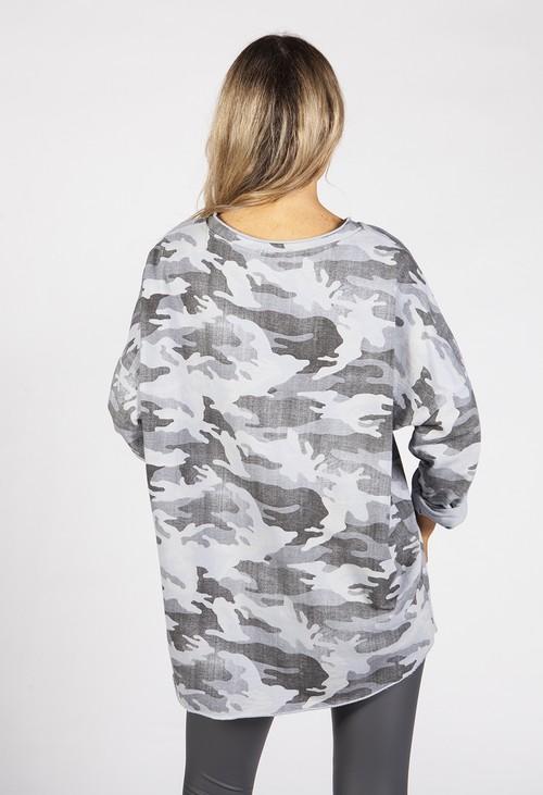 Zapara Faded Grey Camo Top