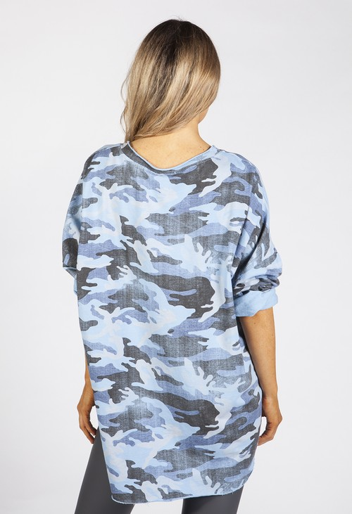 Zapara Faded Blue Camo Top
