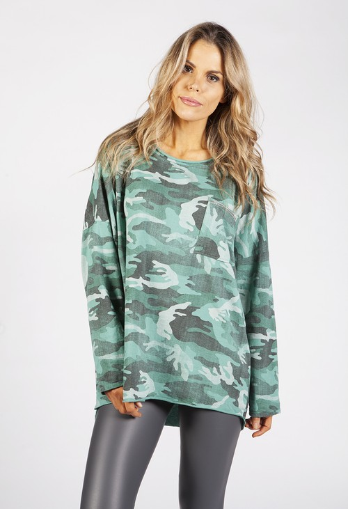 Zapara Light Faded Green Camo Top