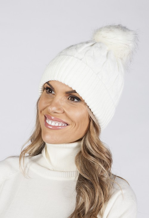 Pamela Scott CREAM CABLE KNIT POMPOM HAT