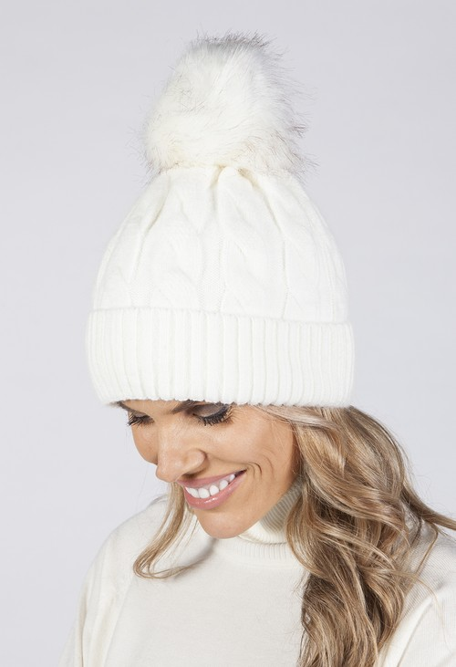 PS Accessories CREAM CABLE KNIT POMPOM HAT