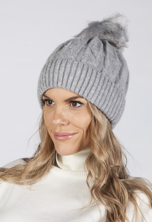 Pamela Scott GREY CABLE KNIT POMPOM HAT