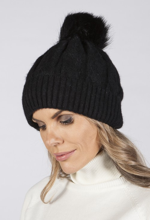 PS Accessories BLACK Cable KNIT POMPOM HAT