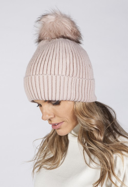 PS Accessories Dusty Pink Knit Hat with Pompom