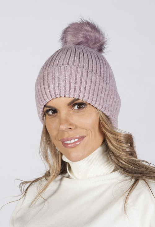 Pamela Scott Light Purple Knit Hat with Pompom