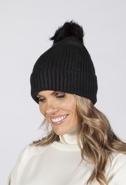 Pamela Scott Black Pompom Hat