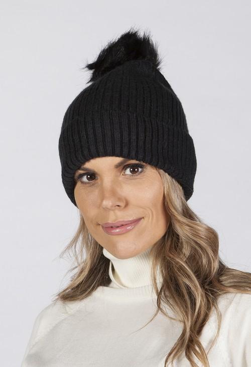 PS Accessories Black Pompom Hat