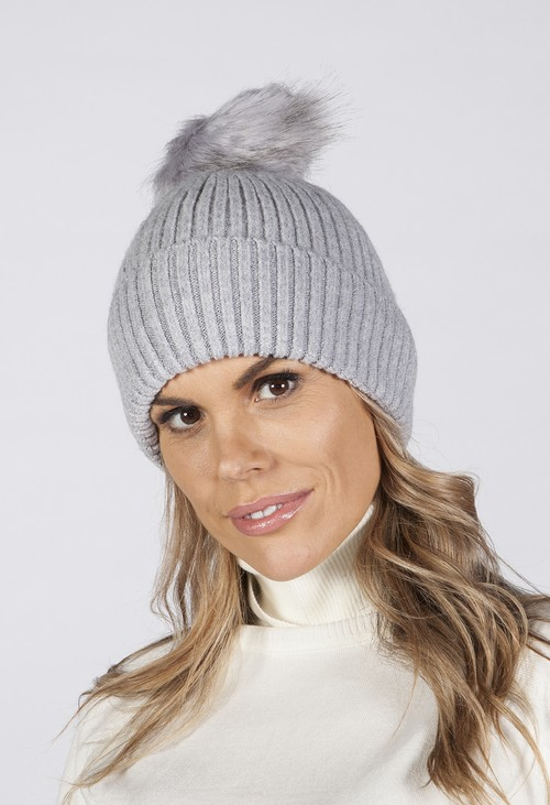 Pamela Scott Grey Pom Pom Hat