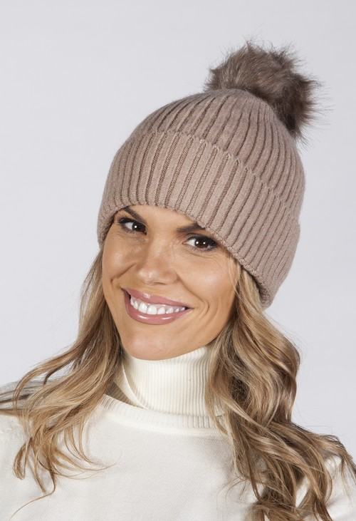 Pamela Scott Taupe Knit Hat with Pompom