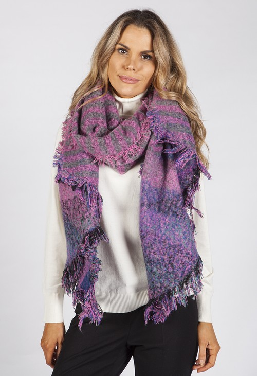 PS Accessories Pink Checked Super Soft Wool Feel Scarf