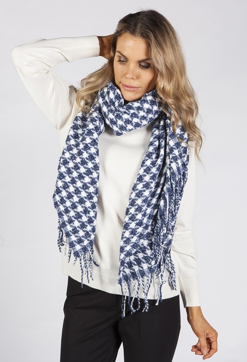 PS Accessories Navy Hounds Tooth Scarf
