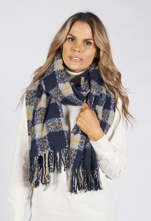 Pamela Scott Navy and Grey Checked Scarf