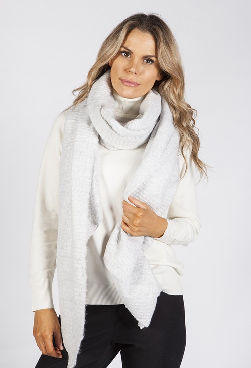 Pamela Scott Light Grey Super Soft Wool Feel Scarf