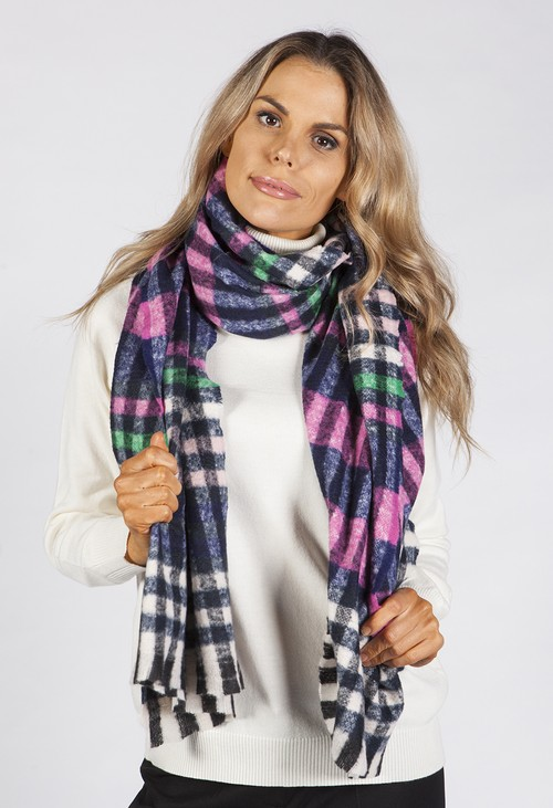 Pamela Scott Multicolour Checked Scarf