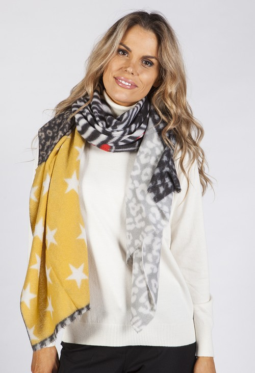 Pamela Scott Star and Animal Print Scarf