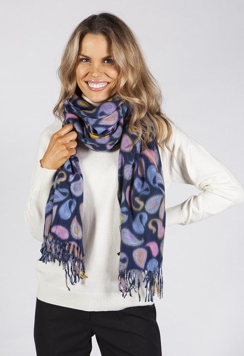 Pamela Scott Navy Scarf with Paisley Print