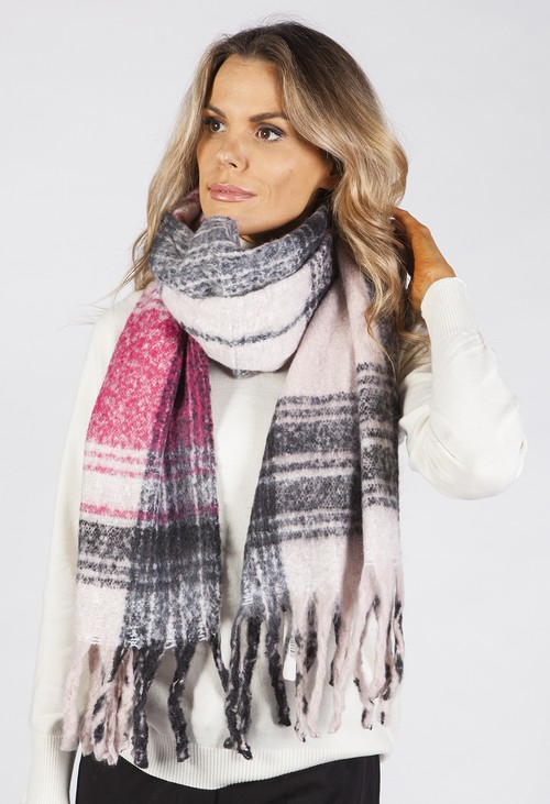 PS Accessories Fuchsia and Charcoal Checked Knit Scarf