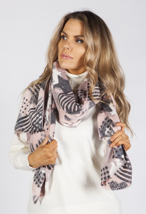 Pamela Scott Dusty Pink Star Design Scarf