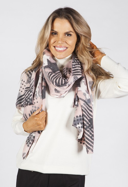 PS Accessories Dusty Pink Star Design Scarf