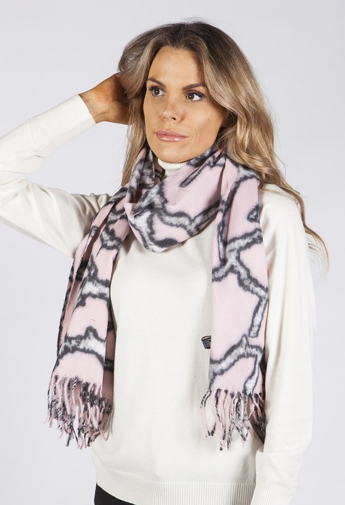 PS Accessories Pink Printed Scarf