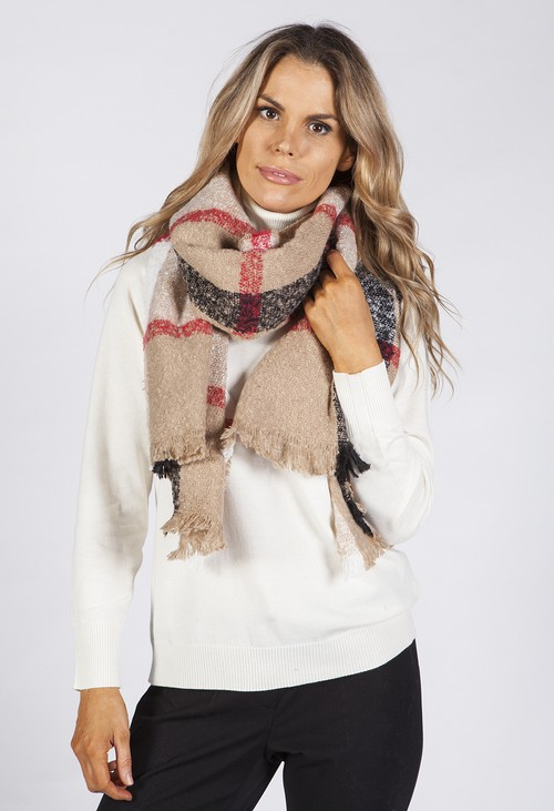 Pamela Scott Taupe Checked Knit Scarf