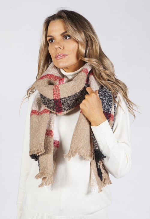 PS Accessories Taupe Checked Knit Scarf