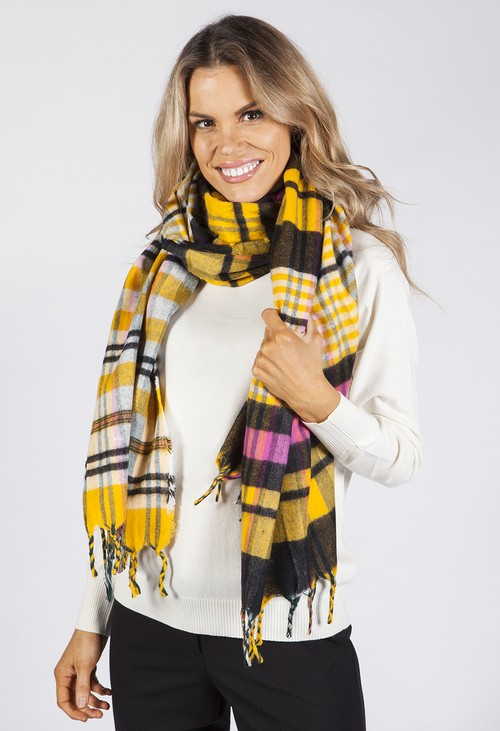 PS Accessories Yellow Checked Knit Scarf