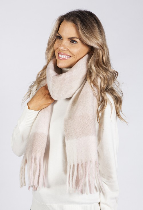 PS Accessories Soft Pink and Beige Checked Woolly Scarf