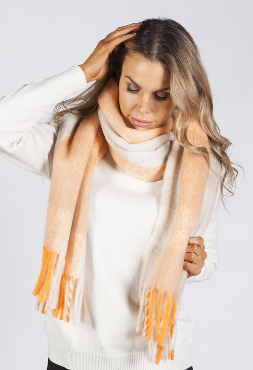 PS Accessories Orange and Beige Checked Woolly Scarf
