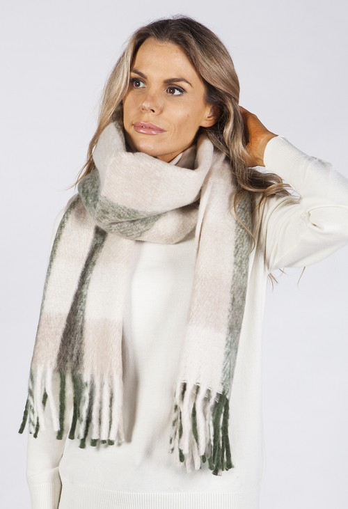 PS Accessories Khaki and Beige Checked Woolly Scarf