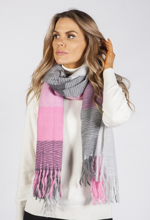 PS Accessories Grey and Pink Panelled Scarf