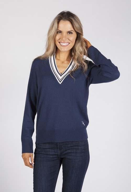 Gerry Weber Navy Polo Jumper with Contrasting V-Neckline