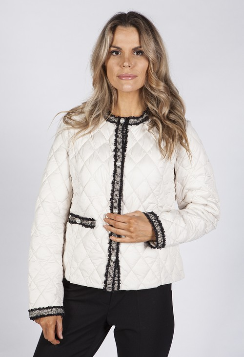 Betty Barclay Cream Quilted Jacket with Tweed Trim