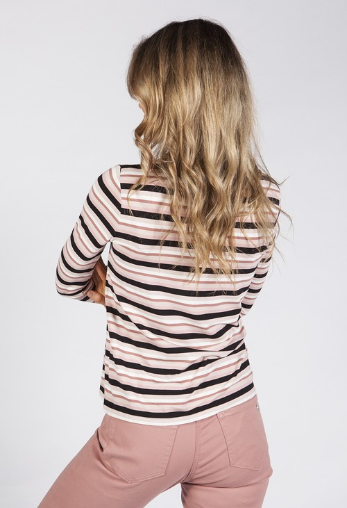 Betty Barclay Pink Stripe Shirt with Submarine Cut-out