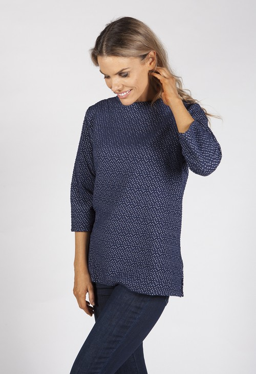 Bicalla Navy Textured Ditzy Spot Top