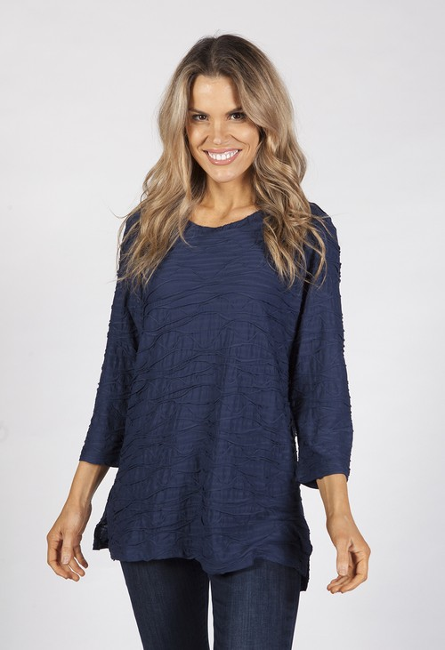 Bicalla Navy Textured Top