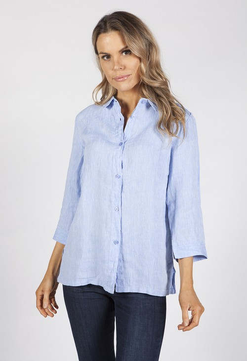 Bicalla Sky Blue Linen Shirt