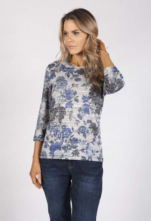 Bicalla Navy Fine Flower Print Top
