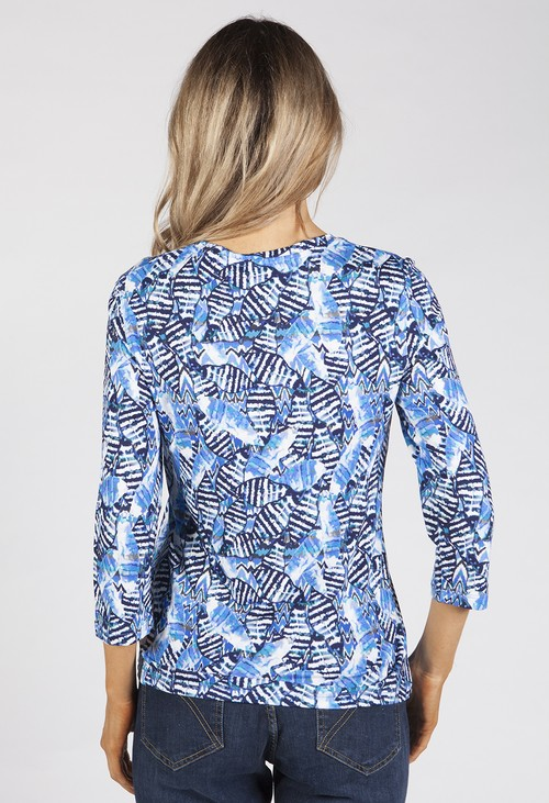 Bicalla Striped Leaves Print Top