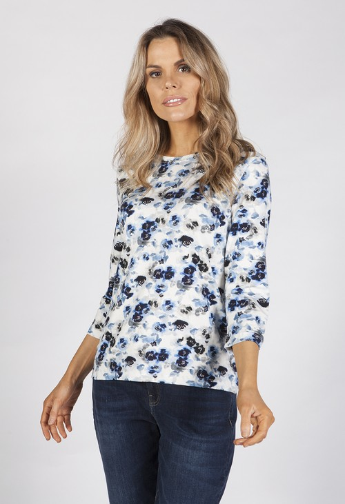 Bicalla Watercolour Blue Floral Top