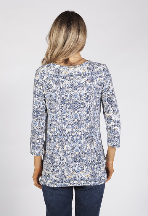 Bicalla Blue and White Paisley Print Top