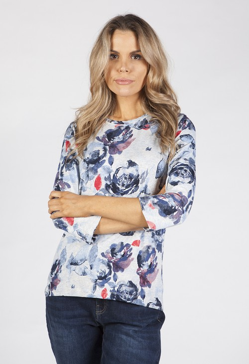 Bicalla Grey Floral Print Top