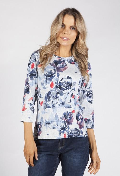 Bicalla Grey Floral Print Top
