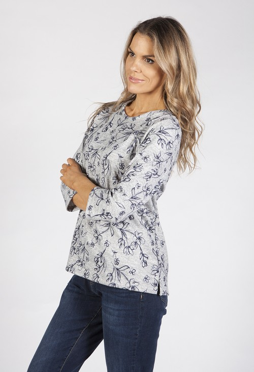 Bicalla Navy Spring Blossom Print Top