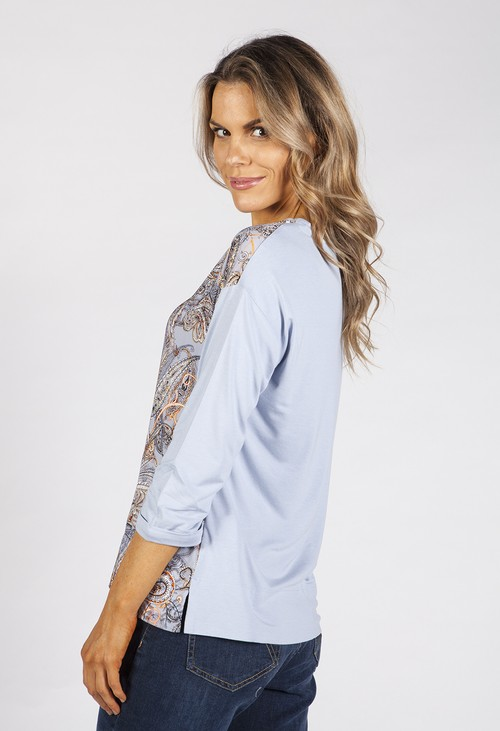 Betty Barclay Light Blue Silk Feel Paisley Front Top