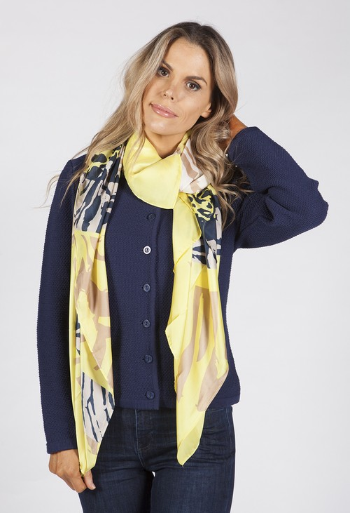 Betty Barclay Silk Feel Lime Yellow Print Scarf