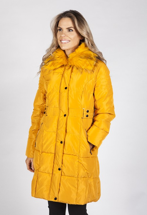 Pamela Scott Mustard Belted Coat with Detachable Faux Fur Collar